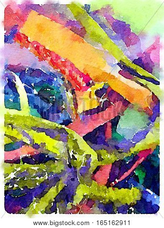 Digital watercolor painting of colorful Sari ribbons in a variety of colours. Can be used as a background space for text.