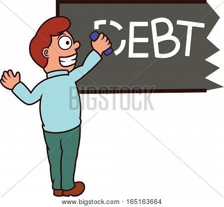 Man Erasing Debt Word on Blackboard Cartoon Illustration