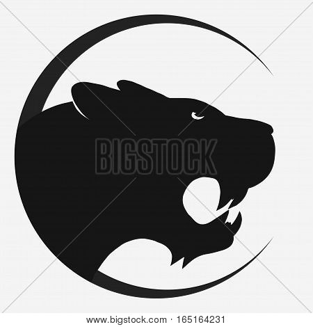 Panther or Tiger logo. Black Mascot head, wild animal portrait emblem, predator face silhouette, Hand drawn cat Emblem t-shirt design. Vector