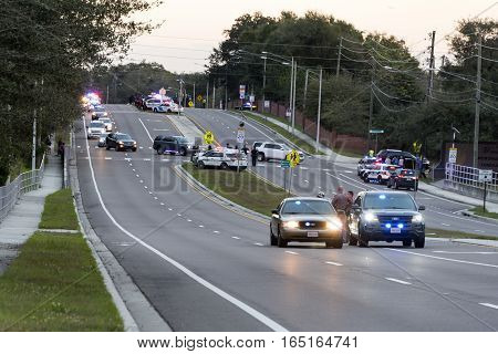 Orlando Florida - January 14th 2017: Funeral Procession to Woodlawn Cemetery for officers killed earlier in the week in Orlando Florida January 14th 2017