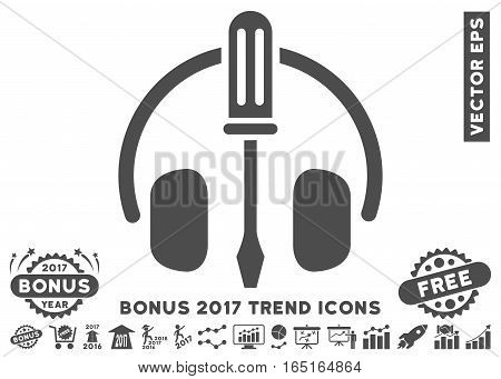 Gray Headphones Tuning Screwdriver pictograph with bonus 2017 trend clip art. Vector illustration style is flat iconic symbols white background.