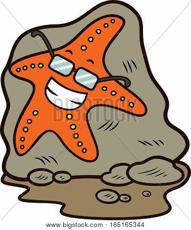 Starfish with Glasses Lying Down on Rock Cartoon Illustration