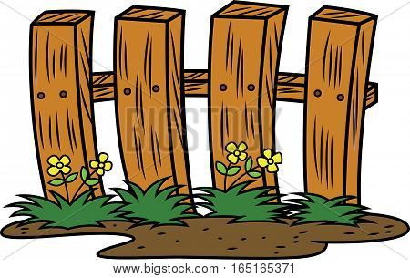 Wooden Fence Cartoon Illustration. Home Related Objects Vector.