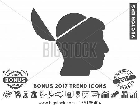Gray Open Brain icon with bonus 2017 year trend icon set. Vector illustration style is flat iconic symbols white background.