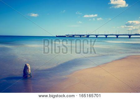 Concrete Pier In Kolobrzeg, Long Exposure Shot