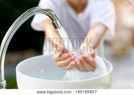 Faucet Water And Hand