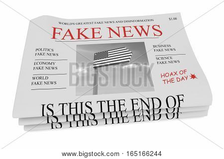 Fake News US Concept: Pile of Newspapers 3d illustration on white background