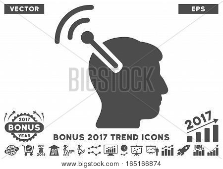 Gray Radio Neural Interface pictograph with bonus 2017 year trend elements. Vector illustration style is flat iconic symbols white background.