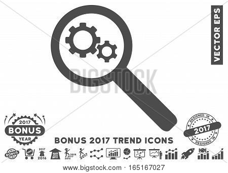 Gray Search Gears Tool pictogram with bonus 2017 year trend clip art. Vector illustration style is flat iconic symbols white background.
