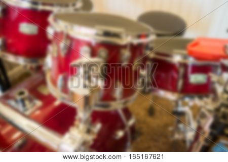 Blurred red grunge drum set, stock photo