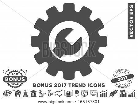 Gray Service Tools icon with bonus 2017 year trend images. Vector illustration style is flat iconic symbols white background.