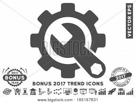 Gray Service Tools pictograph with bonus 2017 year trend icon set. Vector illustration style is flat iconic symbols white background.