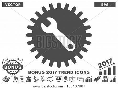 Gray Service Tools icon with bonus 2017 trend images. Vector illustration style is flat iconic symbols white background.