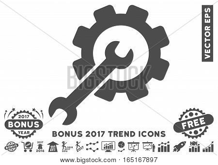 Gray Setup Tools pictograph with bonus 2017 year trend pictograms. Vector illustration style is flat iconic symbols white background.