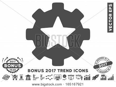 Gray Star Favorites Options Gear pictogram with bonus 2017 year trend elements. Vector illustration style is flat iconic symbols white background.