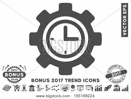 Gray Time Setup Gear icon with bonus 2017 trend symbols. Vector illustration style is flat iconic symbols white background.