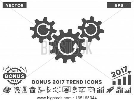 Gray Transmission Wheels Rotation pictograph with bonus 2017 trend symbols. Vector illustration style is flat iconic symbols white background.