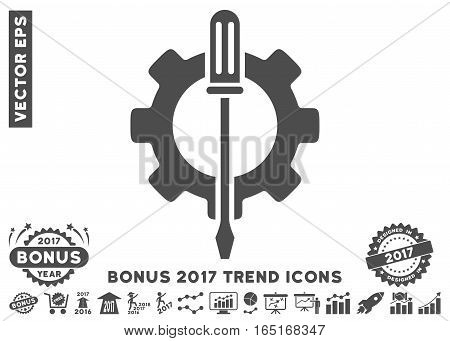 Gray Tuning Options Gear pictogram with bonus 2017 year trend clip art. Vector illustration style is flat iconic symbols white background.