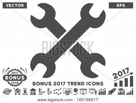 Gray Wrenches pictogram with bonus 2017 trend symbols. Vector illustration style is flat iconic symbols white background.