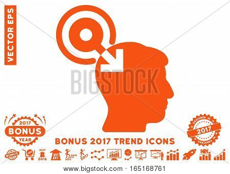 Orange Brain Interface Plug-In icon with bonus 2017 year trend design elements. Vector illustration style is flat iconic symbols white background.