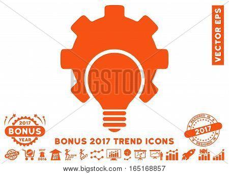 Orange Bulb Configuration Gear icon with bonus 2017 trend pictograms. Vector illustration style is flat iconic symbols white background.