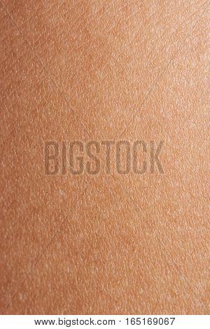 Dark brown human skin surface closeup. Texture of woman skin