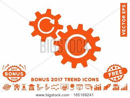 Orange Cogs Rotation icon with bonus 2017 year trend pictograms. Vector illustration style is flat iconic symbols white background.