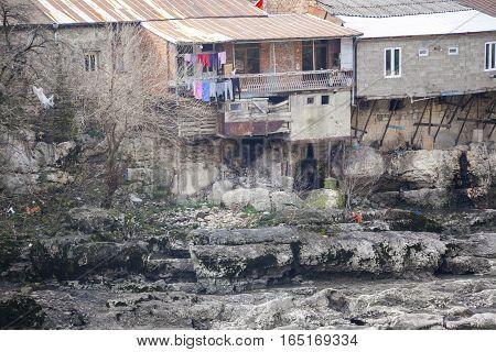 Houses on the banks of the river Rioni. Kutaisi Georgia