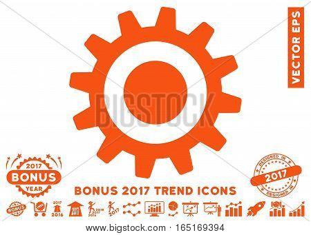 Orange Cogwheel pictograph with bonus 2017 year trend elements. Vector illustration style is flat iconic symbols white background.