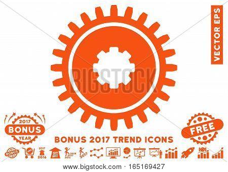Orange Cogwheel pictogram with bonus 2017 year trend images. Vector illustration style is flat iconic symbols white background.