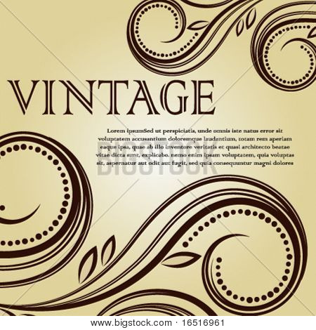 Vintage background with curled elements.