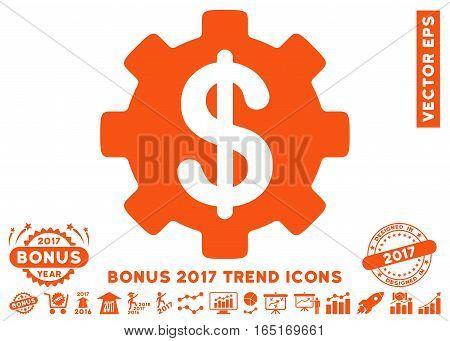 Orange Development Cost icon with bonus 2017 trend images. Vector illustration style is flat iconic symbols white background.