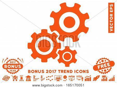 Orange Gear Mechanism pictogram with bonus 2017 trend pictures. Vector illustration style is flat iconic symbols white background.