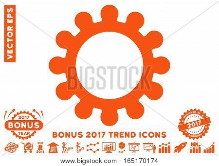 Orange Gear pictograph with bonus 2017 trend pictograph collection. Vector illustration style is flat iconic symbols white background.