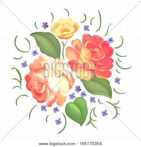 Beautiful bouquet with roses and leaves. Flower arrangement. Design for greeting card and invitation of the wedding, birthday, Valentines Day, mother's day and other holiday. Vector illustration