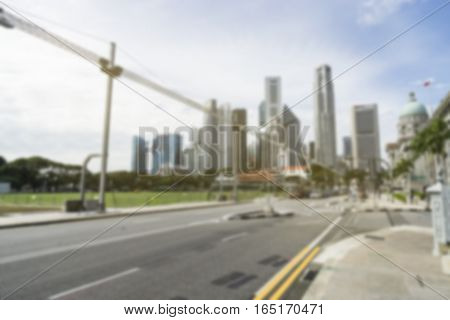 abstract blur background of road and cityscape in singapore - can use to display or montage on product