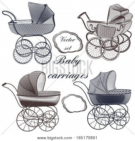 Set of vector baby prams hand drawn in engraved style