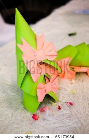 origami paper pink bow for wedding decoration