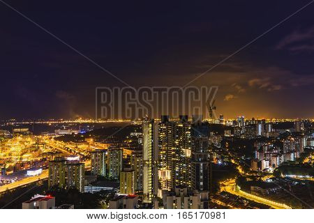 night cityscape of light with twilight time and industry area - can use to display or montage on product