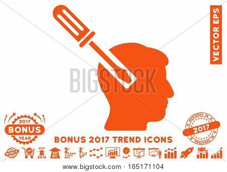 Orange Head Screwdriver Tuning pictogram with bonus 2017 year trend pictograms. Vector illustration style is flat iconic symbols white background.
