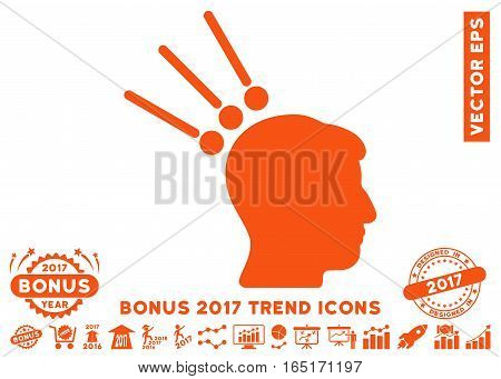Orange Head Test Connectors pictogram with bonus 2017 year trend pictures. Vector illustration style is flat iconic symbols white background.