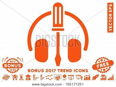 Orange Headphones Tuning Screwdriver pictogram with bonus 2017 trend pictures. Vector illustration style is flat iconic symbols white background.