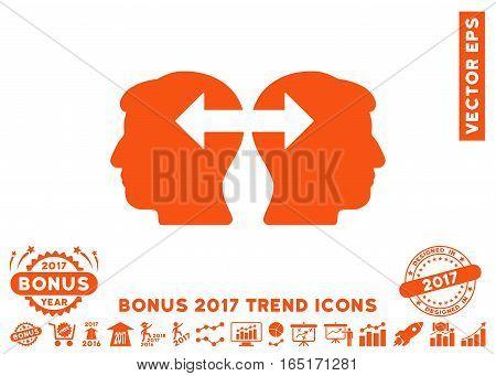 Orange Heads Exchange Arrows pictogram with bonus 2017 trend pictograms. Vector illustration style is flat iconic symbols white background.