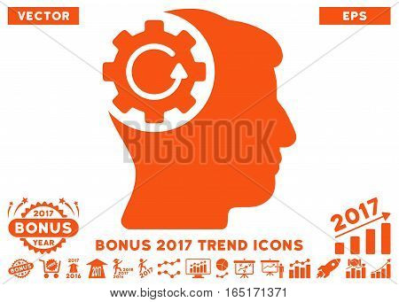 Orange Intellect Gear Rotation pictogram with bonus 2017 year trend pictures. Vector illustration style is flat iconic symbols white background.