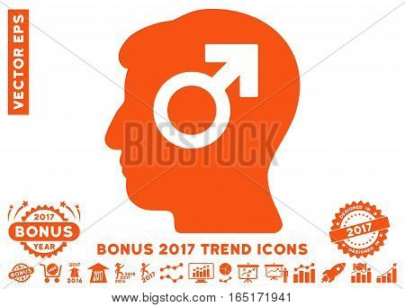 Orange Mind Potency pictogram with bonus 2017 year trend design elements. Vector illustration style is flat iconic symbols white background.