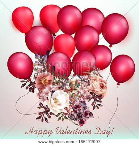 Beautiful Valentines day card with air balloons and flowers