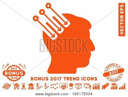 Orange Neuro Interface pictograph with bonus 2017 year trend elements. Vector illustration style is flat iconic symbols white background.