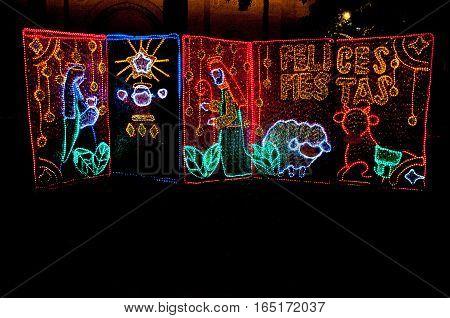 Some Christmas decoration at the Park of Simon Bolivar (Parque de Simon Bolivar) in Medellin, Colombia