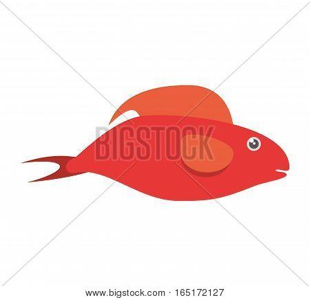 red fish half aquatic environment vector illustration eps 10