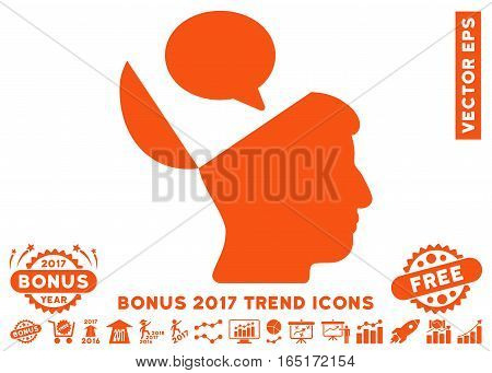 Orange Open Mind Opinion pictogram with bonus 2017 year trend images. Vector illustration style is flat iconic symbols white background.